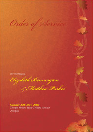 Autumn Breeze wedding stationery order of service