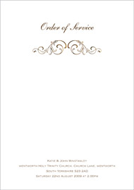 Formal wedding stationery order of service