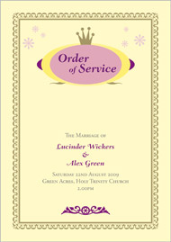 Matilda wedding stationery order of service