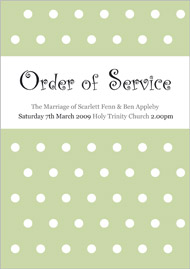 Polka Perfect wedding stationery order of service