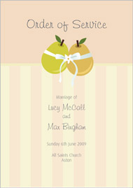Tying the Knot wedding stationery order of service