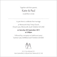 Bride & Groom wedding stationery invitation inside