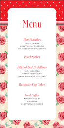 Vintage Rose wedding stationery menu