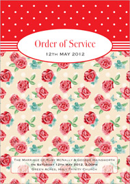 Vintage Rose wedding stationery order of service